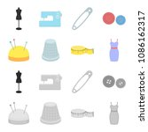 pincushion with pins  thimble ...   Shutterstock .eps vector #1086162317