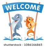 funny dolphin and goldfish... | Shutterstock .eps vector #1086166865