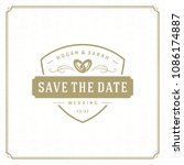 wedding save the date... | Shutterstock .eps vector #1086174887