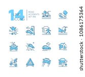 road accidents   set of line... | Shutterstock .eps vector #1086175364