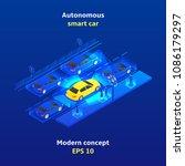 autonomous smart car concept... | Shutterstock .eps vector #1086179297