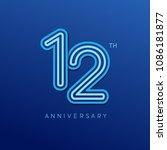 12 anniversary celebration... | Shutterstock .eps vector #1086181877