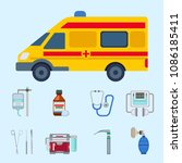 ambulance icons vector medicine ... | Shutterstock .eps vector #1086185411