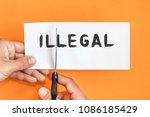 legal concept. hand with... | Shutterstock . vector #1086185429