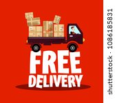 free delivery icon with truck... | Shutterstock .eps vector #1086185831