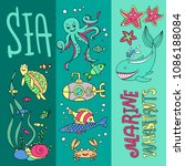 hand drawn doodle style set of... | Shutterstock .eps vector #1086188084