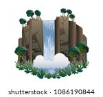 waterfall. cartoon landscape...   Shutterstock .eps vector #1086190844