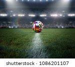 soccer ball stadium 3d rendering | Shutterstock . vector #1086201107