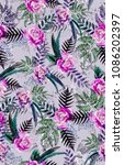 seamless watercolor floral...   Shutterstock . vector #1086202397