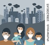 people in mask in polution city ... | Shutterstock .eps vector #1086208145