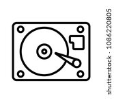 hard disk line vector icon. hdd ... | Shutterstock .eps vector #1086220805