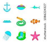 ocean icons set. cartoon set of ... | Shutterstock . vector #1086224327