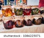 honey infused on various herbs... | Shutterstock . vector #1086225071