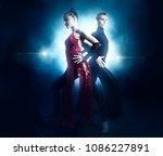 pair of dancers dancing... | Shutterstock . vector #1086227891
