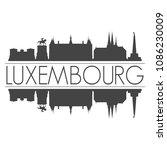 luxembourg city skyline vector...   Shutterstock .eps vector #1086230009
