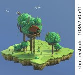 3d rendering pixel art. nature... | Shutterstock . vector #1086250541