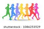 people jogging silhouette | Shutterstock .eps vector #1086253529