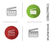 clapperboard icon. time code... | Shutterstock .eps vector #1086259811