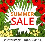 summer sale banner with tropic... | Shutterstock . vector #1086263441