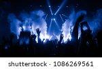 happy people dance in nightclub ... | Shutterstock . vector #1086269561