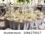 wedding decoration in restaurant | Shutterstock . vector #1086270017