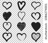 set of the hand drawn hearts... | Shutterstock .eps vector #1086274001
