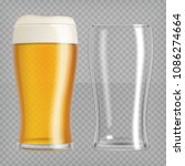 two beer glasses  one empty and ... | Shutterstock .eps vector #1086274664