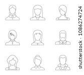 phiz icons set. outline set of... | Shutterstock . vector #1086274724