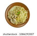 creamy cajun linguine noodles... | Shutterstock . vector #1086292007