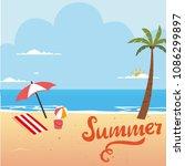 summer beach background. vector ... | Shutterstock .eps vector #1086299897