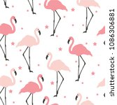 flamingo seamless pattern on... | Shutterstock .eps vector #1086306881