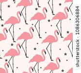 flamingo seamless pattern on... | Shutterstock .eps vector #1086306884
