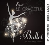 ballet school flyer template.... | Shutterstock .eps vector #1086312215