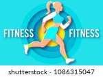 woman fitness poster template.... | Shutterstock .eps vector #1086315047