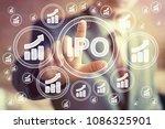 businessman presses button ipo... | Shutterstock . vector #1086325901