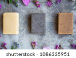 organic natural soap bars with... | Shutterstock . vector #1086335951