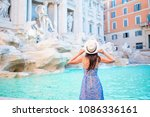 young woman looking to the... | Shutterstock . vector #1086336161