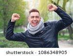 luck  very happy young man. he... | Shutterstock . vector #1086348905