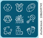 baby related set of 9 icons... | Shutterstock .eps vector #1086349745
