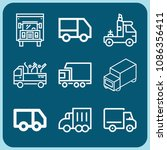 lorry related set of 9 icons...   Shutterstock .eps vector #1086356411