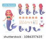 little mermaid character... | Shutterstock .eps vector #1086357635