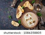 mushroom cream soup. vegan food....   Shutterstock . vector #1086358805