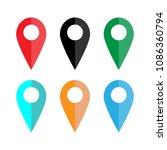 map pointer icon. set. gps...