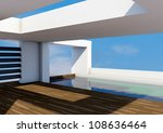modern architecture with pool   Shutterstock . vector #108636464