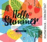 design banner for summer season.... | Shutterstock .eps vector #1086367367