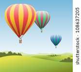 air,airship,aviation,balloon,ballooning,basket,colorful,countryside,flight,float,fly,horizon,hot,hot air,illustration