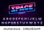 80's purple neon retro font.... | Shutterstock .eps vector #1086382649