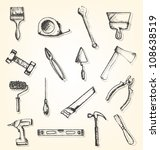 hand drawn working tools | Shutterstock .eps vector #108638519