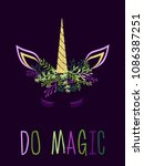 unicorn horn in flowers and... | Shutterstock .eps vector #1086387251