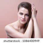 beauty woman face portrait.... | Shutterstock . vector #1086400949